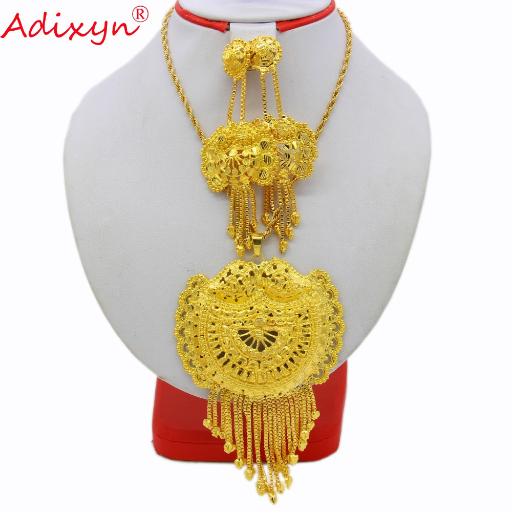 Adixyn Big Size Necklace Pendant Earriing Wedding Jewelry set Gold Color Copper Ethiopian Indiai Party Gifts