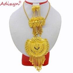 Набор ювелирных изделий Adixyn, большой размер, ожерелье/Подвеска/серьги, набор свадебных ювелирных изделий золотого цвета/медный, для вечерин...