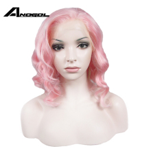 Anogol High Temperature Fiber Side Part Short Natural Wavy Pink Bob Synthetic La