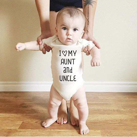 I Love My Aunt And Uncle Newborn Baby Summer Bodysuits 100% Cotton White Jumpsuits Baby Kids Boys Girls Clothing Onesie