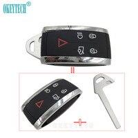 OkeyTech For Jaguar Remote Key Shell Case 5 Button Replacement Fob Key Blank Uncut For Jaguar Key X S Type XF XK XR Smart Key