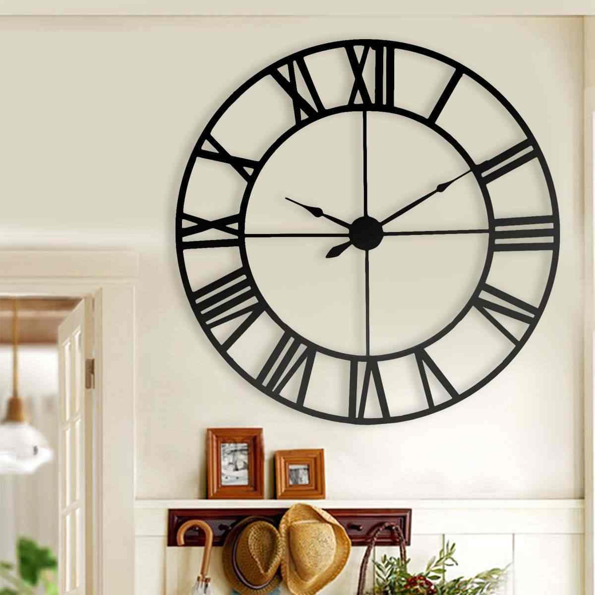 新 80 センチ現代 3D 大レトロ黒鉄アート中空壁時計ローマ数字の家の装飾