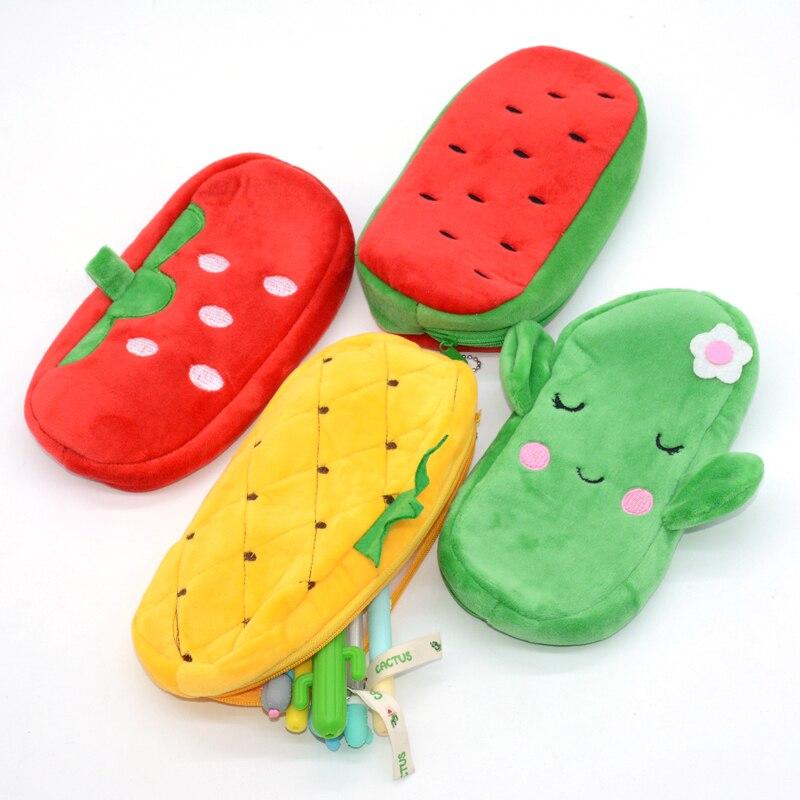 Pencil Case Estojo Escolar Plush Kalem Kutusu Cactus Animal Watermelon Pencilcase School Supplies Cute Trousse Scolaire Etui