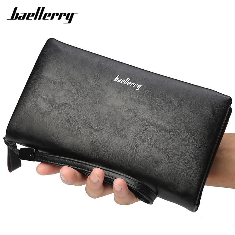 Baellerry Big Wallet For Men Soft Man's Wristband Business Clutch Large Capacity Long Wallet Male Purse Card Holder Phone Pocket