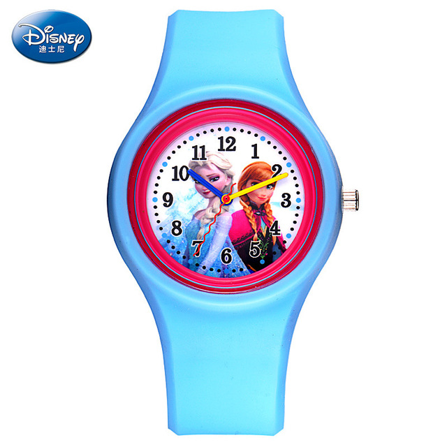 100% Genunie Disney Cartoon Children Frozen Watch Princess Elsa   Watches Fashion Kids Cute Silicone watchband Quartz WristWatch
