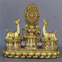 China Brass two Lovely Deer wheel lucky to ward off evil spirits Statue