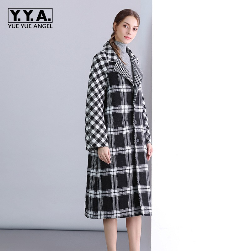 High Quality Brand Womens Wool Coat 2019 New Fashion Plaid Lapel Collar Outerwear Female Loose Fit Single Breasted Cashmere Coat