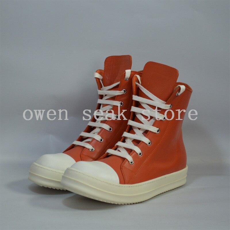 Grau Echtem Stiefeletten up Lace Flache Casual top Zip Frühling Seak Schuhe Aus Owen Trainer Luxus Leder Große orange Frauen High Sneaker nOHqzgO6Xx