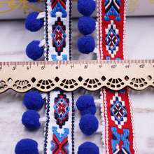 Pom Trim Lace Fabric Sewing Accessories Pompons tassel Ball Fringes Ribbon For DIY Material Craft Apparel