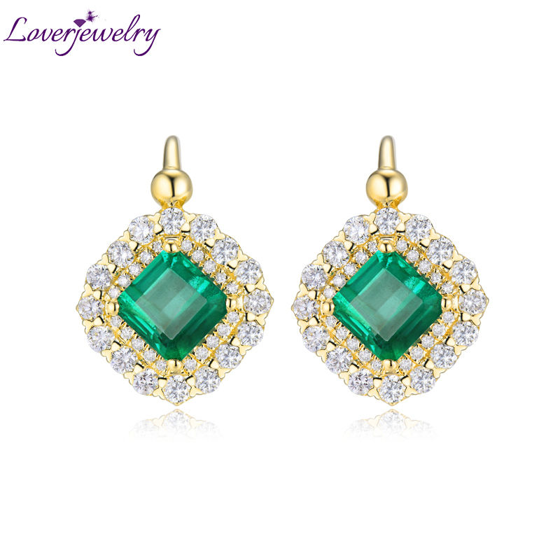Luxury Genuine Gemstone Fine Jewelry Real 18Kt/AU750 Yellow Gold Diamond Green Emerald Wedding Earrings for Women Party Gift solid 18k yellow gold green emerald wedding diamonds rings good quality genuine gemstone fine jewelry for women promised gift