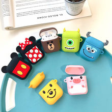 cute pooh Minnie sulley mike bear Soft Silicone For Apple Airpods Shockproof Cover For new Apple AirPods Bluetooth Earphone case(China)