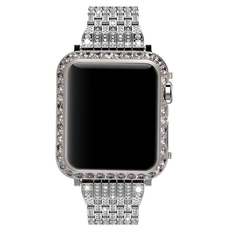 Callancity pour Apple Watch series 3 series 2 1 diamant lunette cristaux main incrusté noir placage de platine