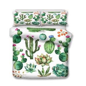 Image 2 - UN Set di Biancheria Da Letto 3D Stampato Duvet Cover Bed Set Pianta di Cactus Tessuti per La Casa per Adulti Biancheria Da Letto con Federa # XRZ07