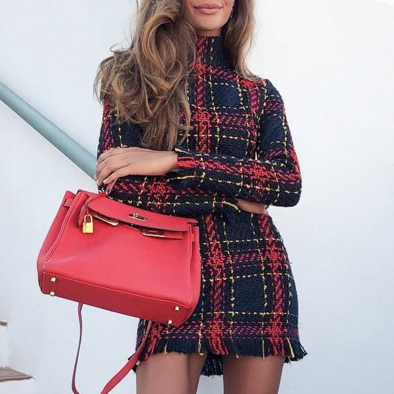 Women Elegant Vintage Dress Autumn Winter Long Sleeve  neck Casual Dresses Colorful Striped Tassels Bodycon Mini