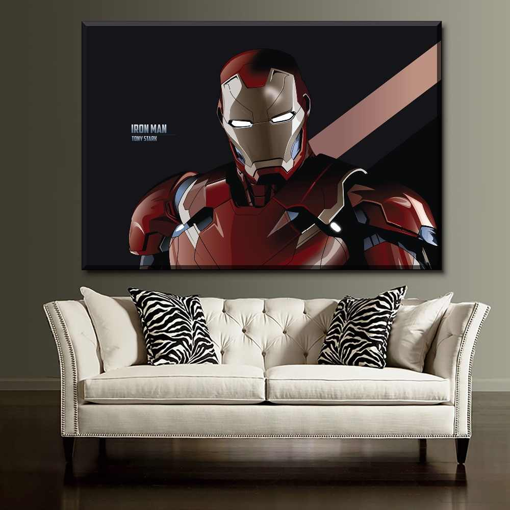 Comic Iron Man Painting One Set 5 Pieces Modular Style Art Movie Character Poster Modern Wall Decorative Framework Canvas Print