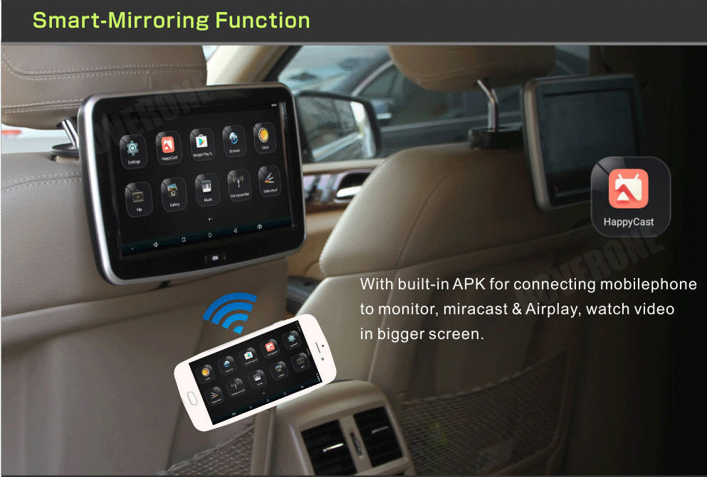 RoverOne 2 pièces X 10.1 ''Android Quad-Core écran tactile voiture appui-tête TFT LCD moniteur tête reste affichage 1080 P multimédia lecteur MP5