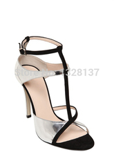 Women Fashion Mixed Colors elegant women shoes Buckle Strap Thin High Heels Cover Heel women's sandals leather unique shoes