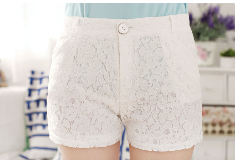 Culottes Shorts Skirts Crochet Two-Layers Cute Under Mini Women's Casual Lace Smooth
