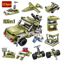 10 in 1 Military series 215pcs Battlefield off-road jeep model Building Blocks For Children Christmas Gifts