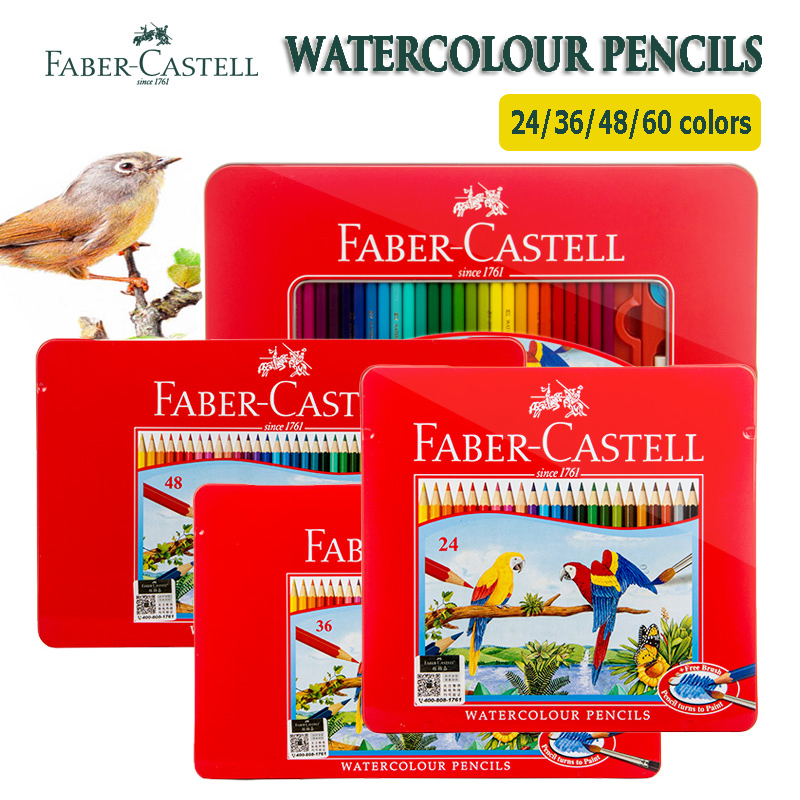 цена на Faber Castell Watercolor Pencil 12/24/48/60/72 Tin Set Lapis De Cor Water Soluble Pastel Crayon Paragraph Aquarelle Pencils