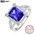 Jqueen lujo 5ct zafiro azul anillo esmeralda sólido 925 joyas de plata de diseño encanto fabuloso marca venta caliente para las mujeres