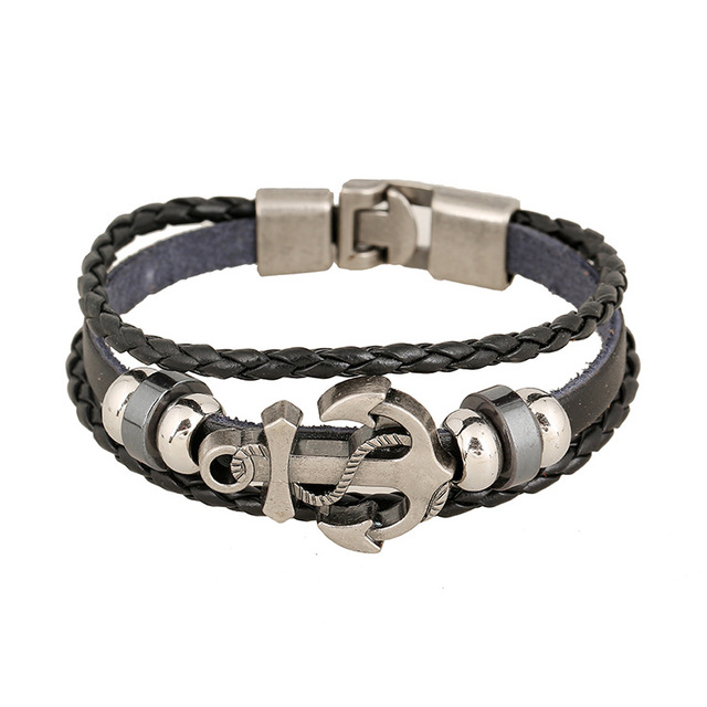 Alloy Anchor Woven Leather...