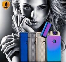 De carga Usb a prueba de viento ultrafinas doble arco arco pulso creativo cigarrillo electrónico personalidad alumbrador