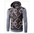 2016 autumn and winter new digital printing national wind stitching hooded sweater coat men 8890-45