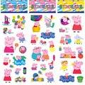 6 Unids/set Niños Lindos Mini 3D peppaed Cerdo Familia Sticker Home Decoración de la pared en la Computadora Portátil Animal Etiqueta Engomada Nevera Juguetes Del Doodle juego