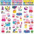 6Pcs/Set Cute Kids Mini 3D peppaed Pig Family Sticker Home Wall Decor on Laptop Animal Sticker Decal Fridge Doodle Toys Game