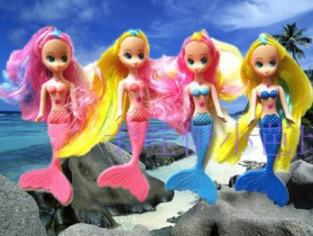 Free Shipping Girl Birthday Gift Christmas Gift With Box 4pcs Cute Mermaid Doll Doll Accessories For