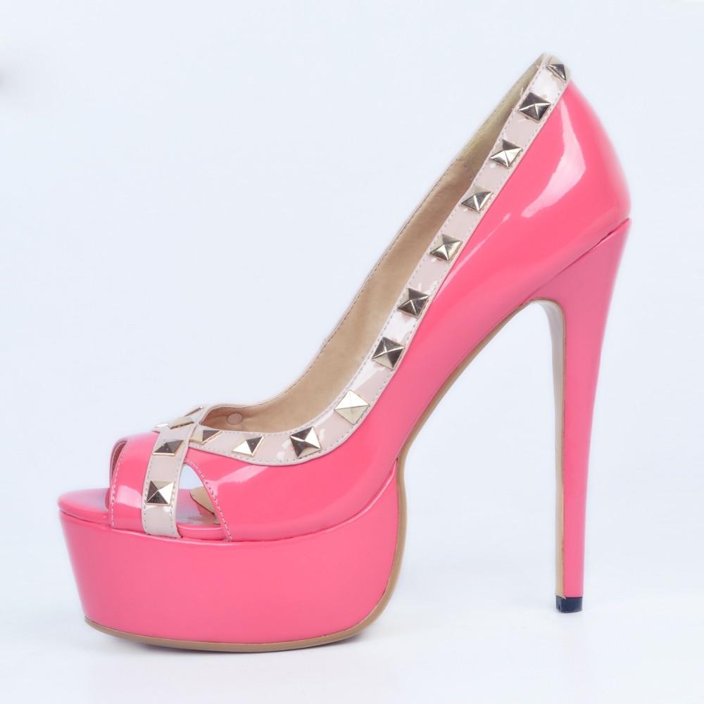ee1bd374ac3d Ursprüngliche Absicht Hochwertige Frauen Pumpen Nieten Plattform Peep Toe  Thin Heels Pumps Schwarz Pink Schuhe Frau Plus Größe 4 15 in Ursprüngliche  Absicht ...