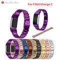 Люксовый Бренд Из Нержавеющей Стали Ремешок Для Часов для Fitbit заряд 2 Ремешок Smart Watch Наручные Часы Для Fitbit Группы с Разъемом