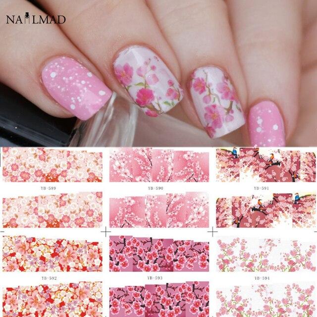 24 Stks Bloemen Bloem Nail Water Decals Bloeiende Bloem Nail Art