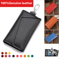 100% Genuine Cow Leather Men Car Key Wallet Women Multi-functional Door Keys + Cards Holder Purse W/ Electronic Keys Hanging 503