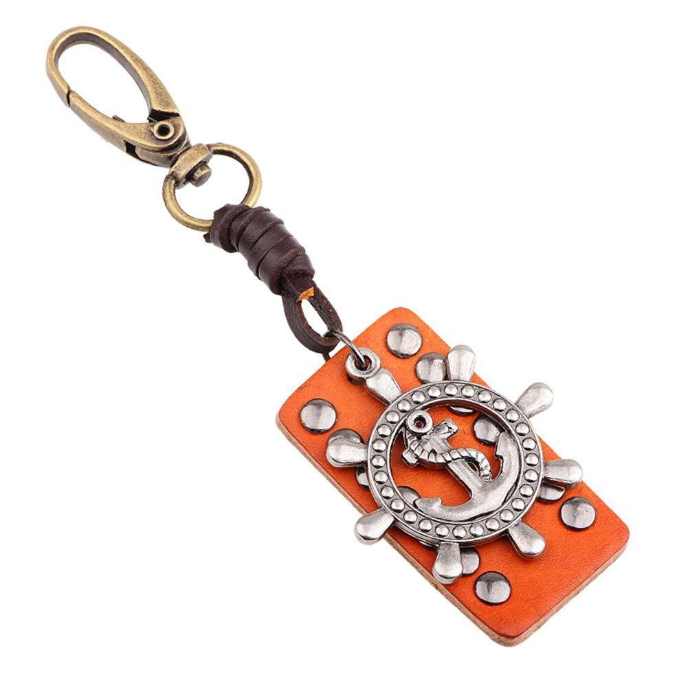 Classic Style Leather Rivet Accessories Rudder Keychain Keyring