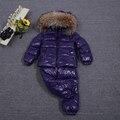 Nuevo invierno padre-hijo de piel de mapache 90% pato blanco abajo Rosa abajo abrigo + Pantalones conjuntos de ropa de bebé niños/niños abajo y parkas