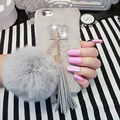 "For Iphone 6 6S Plus 7 7 Plus 4.7""&5.5"" Luxury Winter Hot DIY Phone Back Cover With Fashion Fur Ball Tassels Phone Case YC1302"