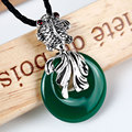 Whitebait Exaggeration natural stones Green Chalcedony Agate Pendants Large female round fish Figure 925 sterling-silver-jewelry