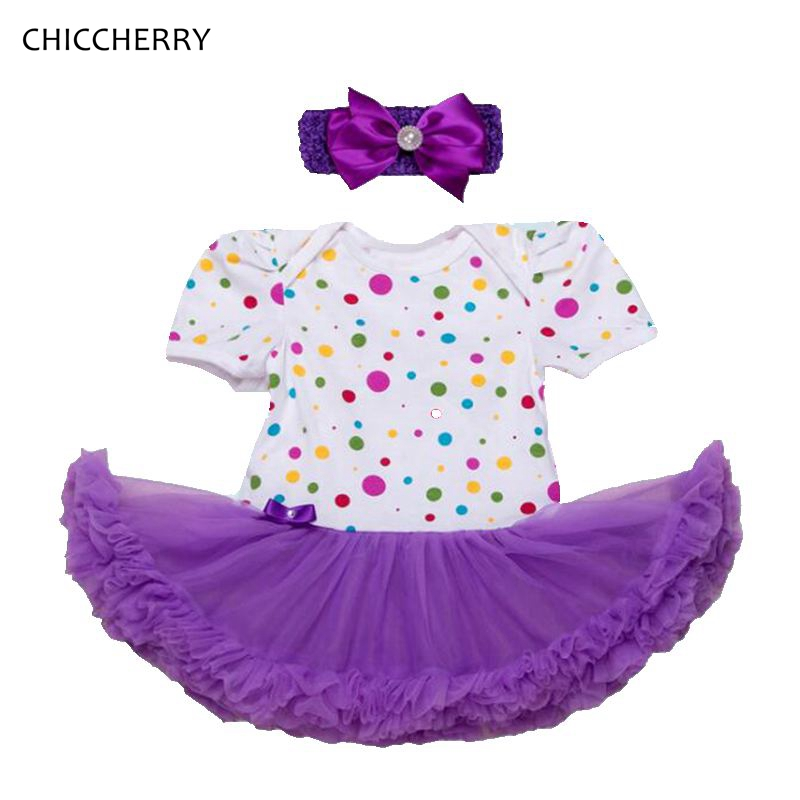 Fashion 2018 Polka Dot Purple Lace Petti Romper Dress with Headband Infant Dresses For Girls Vestido Bebe Baby Girl Clothes