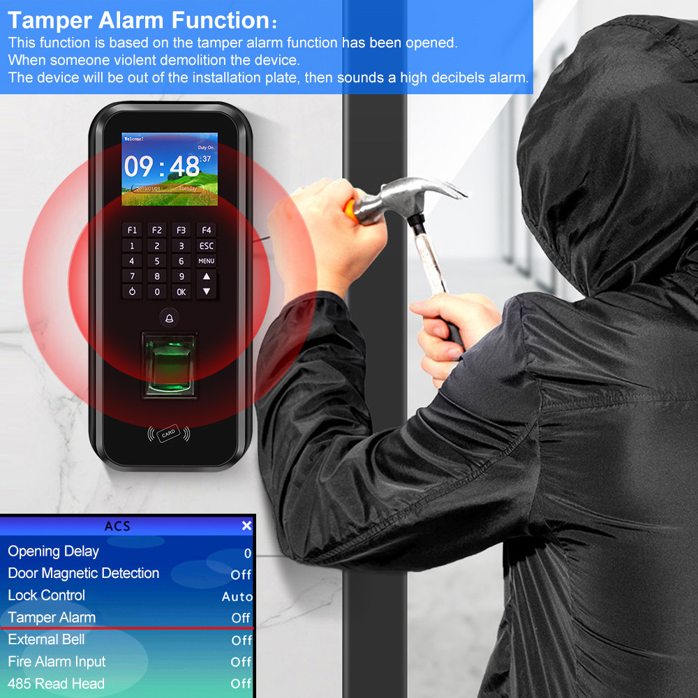 Image 4 - Password Access Control System RFID Keypad Fingerprint Biometric Attendance Machine Time Clock Recorder TCP/IP/RS485 USB Realand-in Fingerprint Recognition Device from Security & Protection