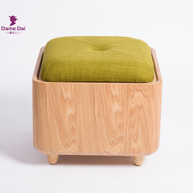 Soid Oak Wood Organizer Storage Stool Ottoman Bench Footrest Box Cube Furniture Fabric Cushion Top