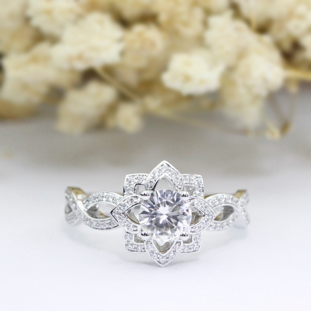 LASAMERO 1.0CT Luxury Round Cut Simulated Diamond Engagement Ring 925 Sterling Silver Floral Style Accents Promise Wedding Ring