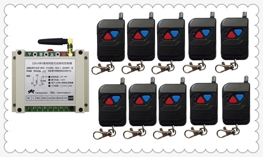 DC12V 24V 36V 48V 10A 2CH Remote Control Garage Door RF Wireless Remote Control Switch System 10*black Transmitter &1*Receiver black professional dc12v 24v 2ch rf wireless remote control switch system transmitter receiver with two button 315mhz 433mhz