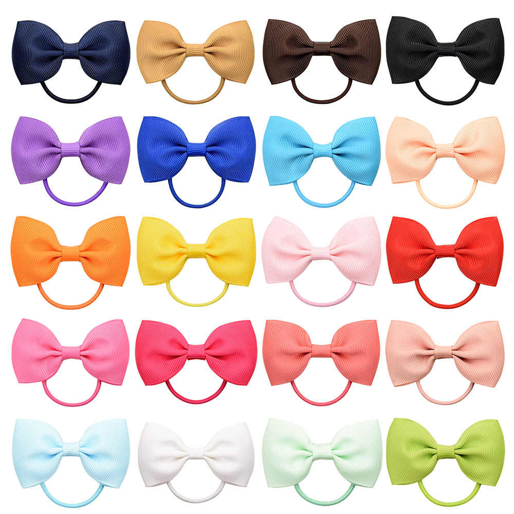 1 Pcs Fashion Small Baby Elastic Rubber band Head rope Mini Solid Ribbow Bow Tie For Girls Hair Accessories 023