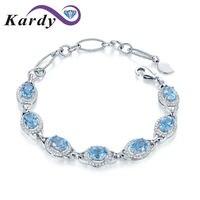 Fashion Natural Sky Blue Gemstone Topaz Oval Cut Diamond Wedding Engagement 14K White Gold Bracelet Bangle hermes for Women