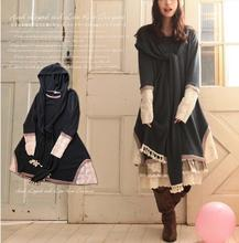 Spring Japanese Casual sweet Lolita Solid Continuous clothing Long sleeves cute soft Kawaii Women's dress with hat Mori Gir