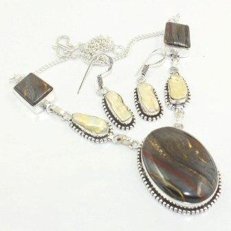 Ferro tiger eye & biwa pérolas colar earing prata sobreposição sobre cobre, 48.5 cm, n3453