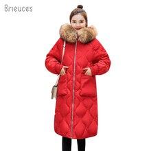 Brieuces winter coat Female thickened parka women slim long plus size 3XL down cotton ladies parkas jacket 2018