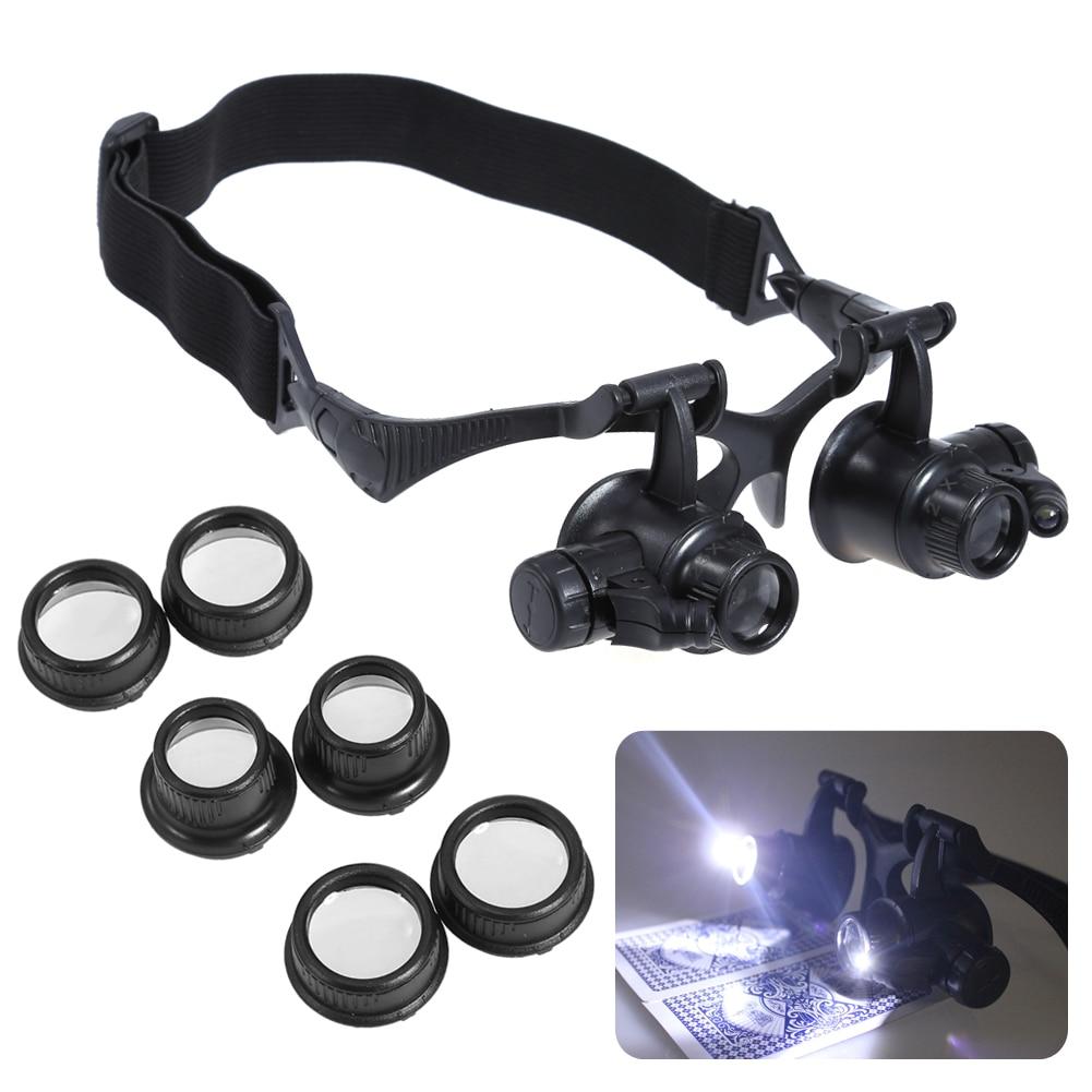 10/15/20 / 25X LED-es nagyító, nagyító szemüveg, nagyítóval, olvasó, ékszerész, órák javítása, nagyító, fejpánt, nagyító